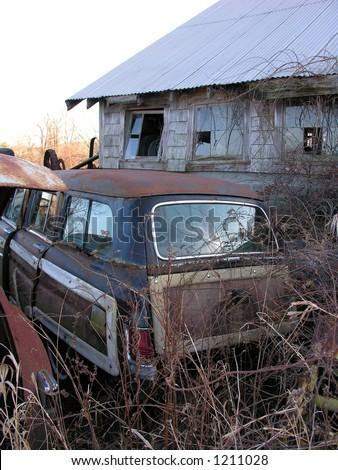 Vintage rusty automobile - stock photo