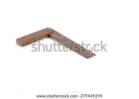 Vintage & rusty engineer's square tool isolated on white background