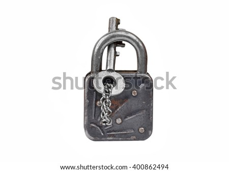 Vintage rusty lock and key, isolated on white background - stock photo