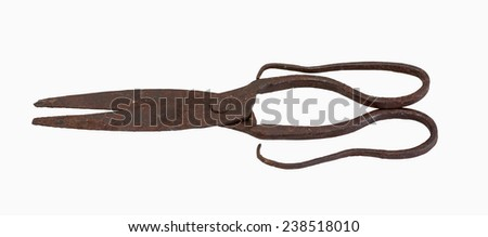 Vintage rusty scissors on a white background - stock photo
