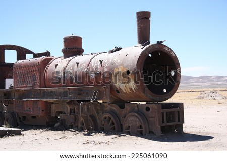 Vintage rusty train at the Train Cemetery in Uyuni desert, Bolivia, South America - stock photo