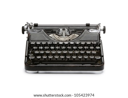 Vintage rusty typewriter isolated on white background