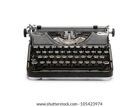 Vintage rusty typewriter isolated on white background - stock photo