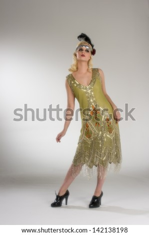 Vintage 1920's flapper girl - stock photo