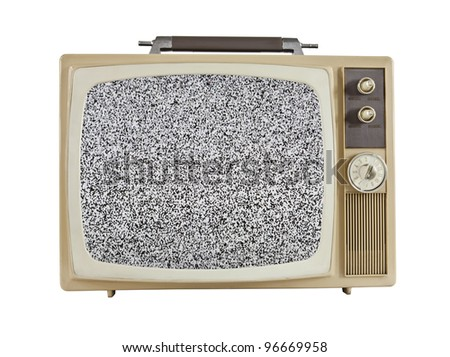 Vintage 1960's portable television with static screen, isolated on white. - stock photo