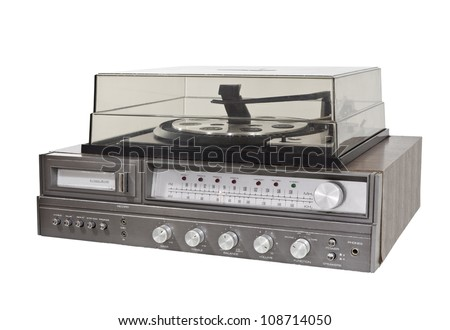 Vintage 1970s 8 track record player stereo with clipping path. - stock photo