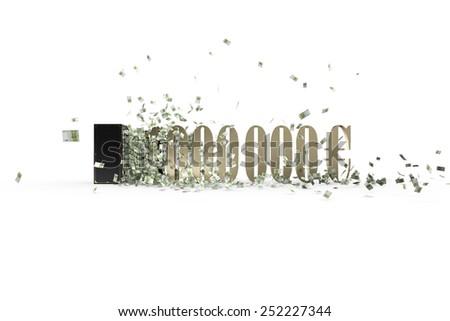 Vintage safe and 1000000 euro - stock photo