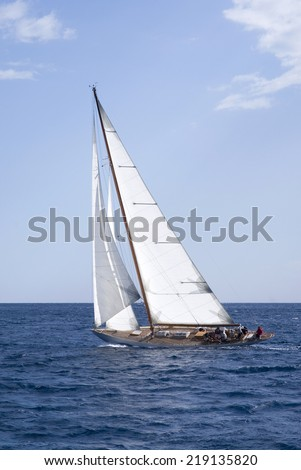 Vintage sail boat - stock photo