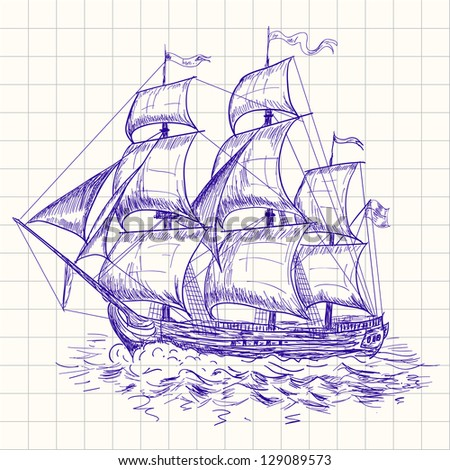 Vintage sailboat. Raster version. Vector is also available in my gallery