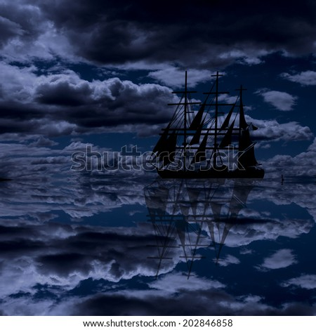 Vintage sailboat sailing at beautiful seascape with clouds on blue sky, background illustration - stock photo