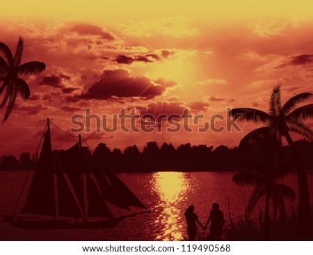 Vintage sailboat sailing at beautiful sunset on tropical seascape and couples, background illustration - stock photo