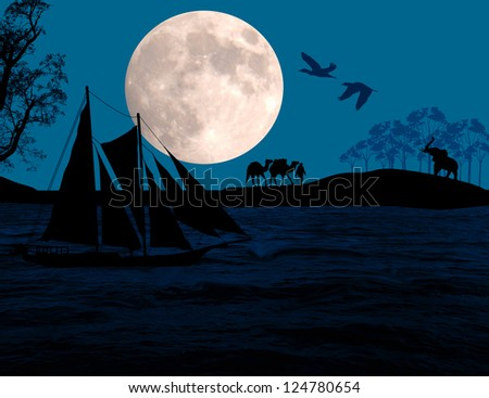 Vintage sailboat sailing at sunset on tropical seascape, background illustration - stock photo