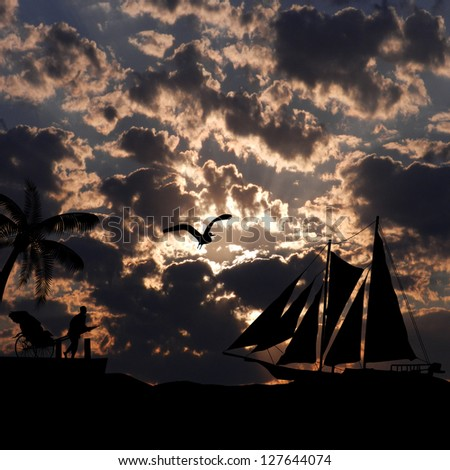 Vintage sailboat sailing in  a spectacular sunset on tropical seascape, background illustration - stock photo