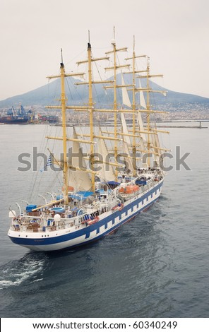 Vintage sailing ship yachts with white sails