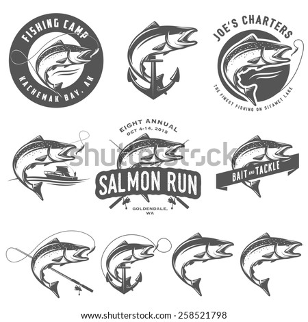 Vintage salmon fishing emblems and design elements - stock photo