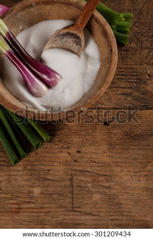 Vintage salt box and spoon of wood with green onions - stock photo