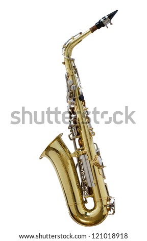 Vintage saxophone isolated with clipping path on white background - stock photo
