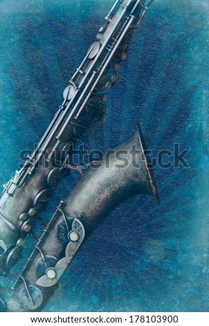 Vintage saxophone on retro texture background. Grunge musical background with old saxophone. Poster for the music concert with jazz instrument. - stock photo