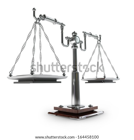 vintage scales isolated on white background High resolution 3d  - stock photo