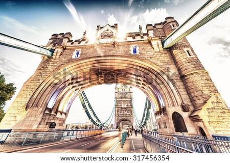 Vintage scene of Tower Bridge, London. - stock photo