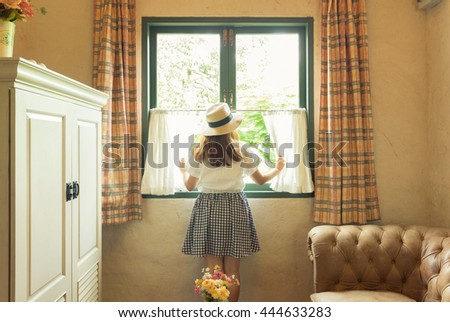 Vintage scene with girl in the room