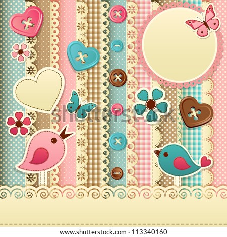 Vintage scrapbook background - raster version - stock photo