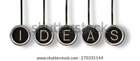"""Vintage, scratched chrome typewriter keys with black centers and white letters spelling out, """"IDEAS"""".  Isolated on white with drop shadows. - stock photo"""