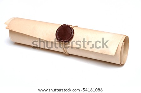 vintage scroll isolated on white background - stock photo