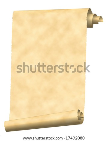 Vintage scroll paper texture isolated on white