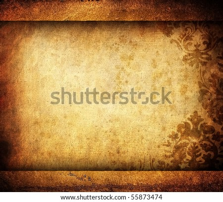 vintage scroll with floral pattern - stock photo