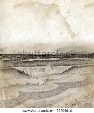 Vintage sea shore drawing - stock photo