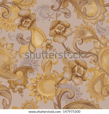 vintage seamless floral and paisley pattern, watercolor drawing - stock photo