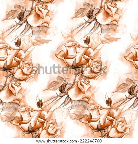 Vintage Seamless hand draw watercolor flower blossom pattern. Classic seamless vintage flower on a white background. Suitable for various designs,  fabric, invitation and scrapbooking. - stock photo
