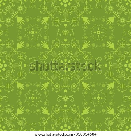 Vintage seamless hand drawn background with intricate floral lace motifs in green. Unique oriental arabic style seamless pattern - stock photo