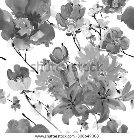 Vintage seamless monochrome flowers pattern - stock photo