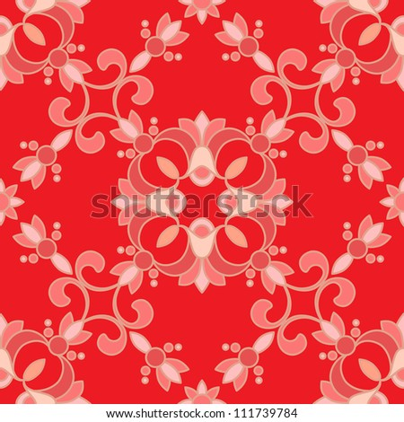 Vintage seamless pattern, abstract red background. Vector version available in my portfolio - stock photo