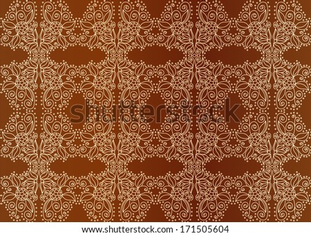 Vintage seamless pattern, golden ornament on brown background or wallpaper