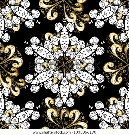 Vintage seamless pattern on a black, white and beige colors with golden elements.