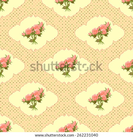 Vintage seamless pattern with roses and dots. Rasterized version. - stock photo