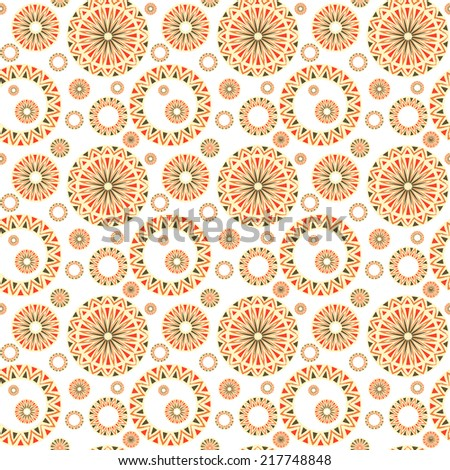 Vintage seamless pattern with  traditional elements of ancient Altai ornaments - stock photo