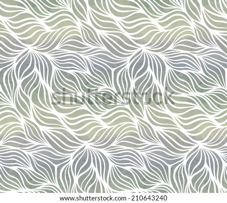 Vintage seamless pattern with waves. Watercolor paint. Nature theme.  - stock photo