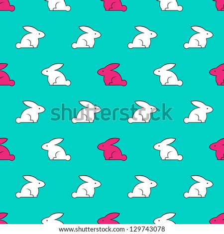 Vintage seamless texture with rabbits. Raster version. - stock photo