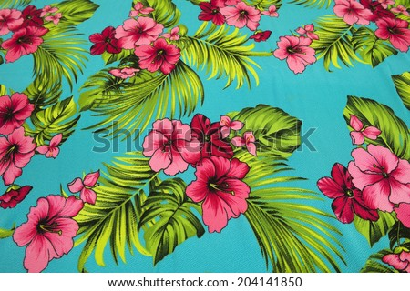 vintage seamless tropical flowers - stock photo