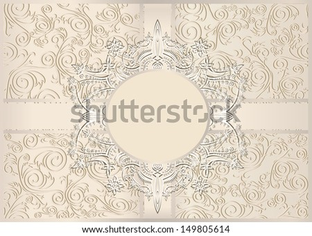 Vintage seamless wallpaper with a ribbon and frame in pastel colors.