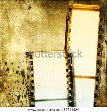 Vintage sepia film strip background - stock photo