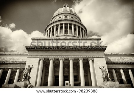 Vintage sepia image of the Capitol building in Havana - stock photo