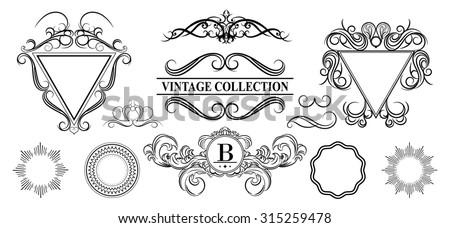Vintage set decor elements for menu. Elegance old hand drawing set. Outline ornate swirl leaves, label, acanthus elements, shield and decor elements in raster. Signs for writer, wedding or restaurant. - stock photo