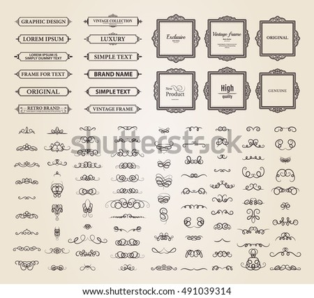 Vintage set exclusive borders frame wicker stock vector for Exclusive bordering