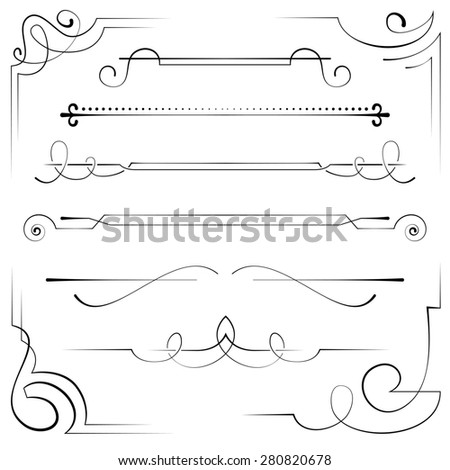 Vintage set frame and border with swirls - stock photo