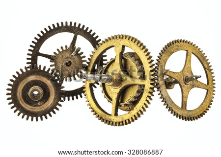 Vintage set of clock cogwheels isolated on a white background